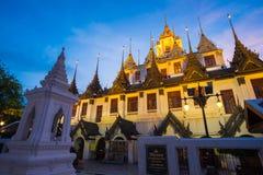 Loha Prasat Metal Palace in Wat ratchanadda at sunset Royalty Free Stock Photos