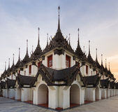 Loha Prasat Metal Palace in Wat Ratchanaddar temple. Stock Photos