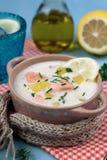 Lohikeitto Finnish salmon and potato soup Royalty Free Stock Photos