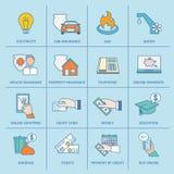 Lohn Bill Icons Flat Line Lizenzfreie Stockfotografie