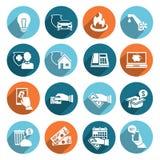 Lohn Bill Icons Flat Set Lizenzfreie Stockbilder