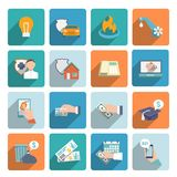 Lohn Bill Icons Flat Set Lizenzfreie Stockfotografie