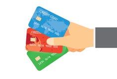 Lohn mit Kreditkarte drei Stockbild