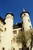 Lohr A. strömförsörjning (Tysklandet) - slott av Spessart arkivbild