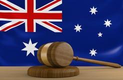 Loi d'Australie et système de justice avec le drapeau national illustration de vecteur