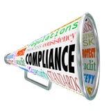 Loi de processus juridique de règles de directives de mégaphone de corne de brume de conformité Images stock