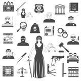 Loi et juge Black Icons positionnement Illustration Stock