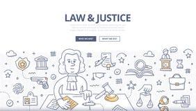 Loi et juge Doodle Concept Image libre de droits