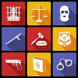 Loi et juge Icons Flat Photo stock