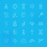 Loi et juge Line Icons Set au-dessus de fond polygonal Images stock