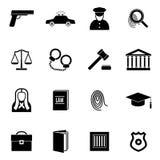 Loi et juge noirs Icon Set de silhouette Vecteur Images stock