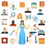 Loi et juge plats Icons de conception Illustration Libre de Droits