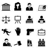 Loi, juridique, ensemble d'icône de justice Photographie stock