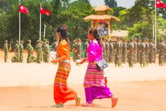 People Dress Up Beautifully. Loi Kaw Wan - Shan State ArmySSA, Burma - May 21: Unidentified People Dress Up Beautifully In A Shan State Army Day On May 21, 2017 Stock Images