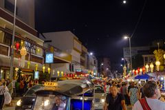 Loi Krathong lantern festival in Chiang Mai. People walking the night streets during the 2017 Loi Krathong lantern festival in Chiang Mai, Thailand Stock Images