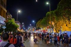 Loi Krathong lantern festival in Chiang Mai. People walking the streets during the 2017 Loi Krathong lantern festival in Chiang Mai, Thailand Stock Image