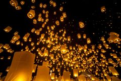 Loi Krathong y Yi Peng Festival Imagen de archivo libre de regalías