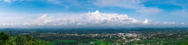 Loie city province on top view from Pru Bo Bid Mountain view. Point. Loei province have top tourist attraction land mark in thailand such as Chiang Khan, Phu royalty free stock photo