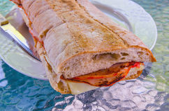 Loin of pork and cheese sandwich Royalty Free Stock Image