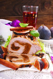 Loin of pork stuffed with figs for christmas Royalty Free Stock Photography