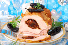 Loin of pork stuffed with prune Stock Photo