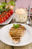 Loin steak with coleslaw Stock Photography