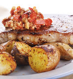 Loin Steak with Potatoes and  Sauce Stock Images