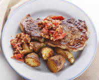 Loin Steak with Potatoes and  Sauce Stock Photography