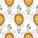 Loin Watercolor Seamless Pattern Royalty Free Stock Image
