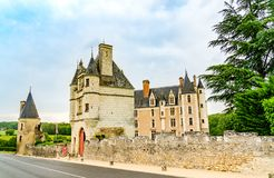 Castle of Montpoupon in the Loire Valley area, France. Loire Valley, France - May 30, 2018: Castle of Montpoupon, a castle in the commune of Cere la Ronde in the royalty free stock image