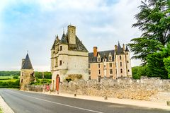 Castle of Montpoupon in the Loire Valley area, France. Loire Valley, France - May 30, 2018: Castle of Montpoupon, a castle in the commune of Cere la Ronde in the stock photo