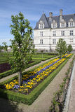 Loire Valley villandry flower bed and castle. Next o vegetable garden Stock Photo