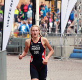 Lois Rosindale running in the triathlon Stock Photography