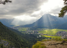 Loisach valley from lookout point, dramatic sky Stock Images