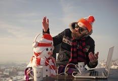 loisirs de Noël et nouvelle technologie photos libres de droits
