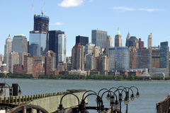 Loiwer Manhattan over Pier Royalty Free Stock Image