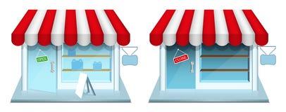 Loja com fechado e estar aberto. Ícones do vetor. Imagens de Stock