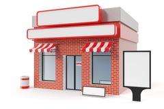 Loja com a placa do espaço da cópia isolada no fundo branco Construções de loja modernas, fachadas da loja Mercado exterior ilustração stock