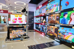Loja da eletrônica em Hong Kong foto de stock