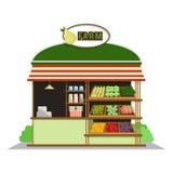 Loja da exploração agrícola Loja das frutas e legumes no projeto liso do estilo Ilustração do vetor ilustração stock