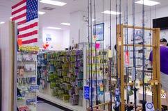 Loja da loja das fontes do equipamento de pesca foto de stock