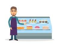 Loja da padaria ou vendedor do mantimento Imagem de Stock Royalty Free