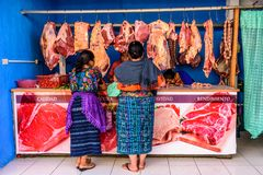 Loja de carniceiros tradicional do rua-lado, Guatemala imagem de stock royalty free