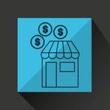 A loja de compra compra o gráfico do ícone do dólar das moedas do dinheiro Fotos de Stock Royalty Free