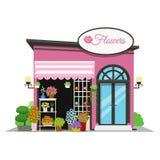 Loja de flor Ícone da loja no projeto liso do estilo Ilustração do vetor do quiosque da flor ilustração royalty free