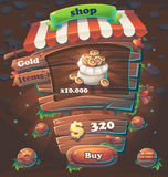 Loja de janela de madeira da interface de utilizador do jogo ilustração royalty free