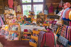 Loja de lembrança de matéria têxtil, loja de lembrança da tela imagens de stock royalty free