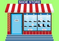 Loja de sapatas do ` s dos homens, janela da loja ilustração do vetor