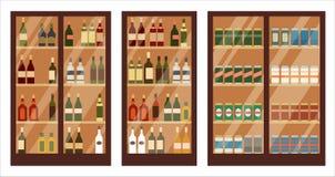 Loja do álcool prateleiras ilustração stock