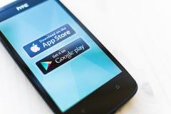 Loja do App contra o jogo de Google Fotografia de Stock Royalty Free